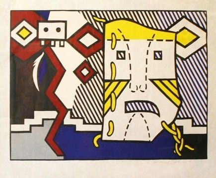 Gravure Sur Bois Lichtenstein - American indiana theme V