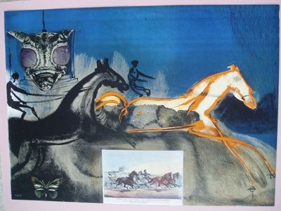 Lithographie Dali - American Trotting Horses No. 2