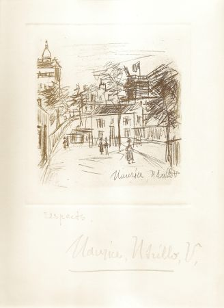 Gravure Utrillo -  Amitiés de Montmartre
