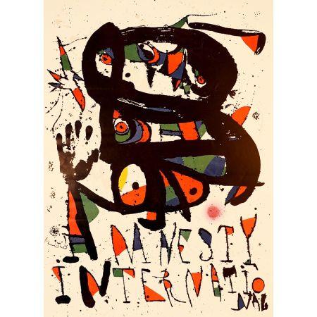 Lithographie Miró - AMNESTY INTERNATIONAL 1975. Lithographie. Tirage de luxe sur Arches.
