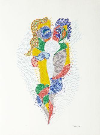 Sérigraphie Alberti - Amor de día, Amor de noche, una flor no siempre da flores III