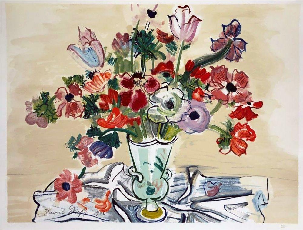 Lithographie Dufy - ANÉMONES (1942).