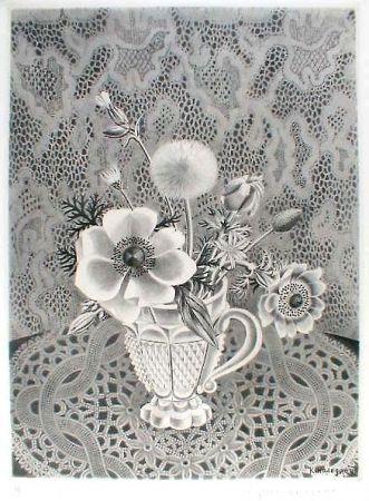 Eau-Forte Et Aquatinte Hasegawa - Anémonés et fleurs de champs dans un verre a facettes / Bouquet sur fond de dentelle