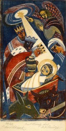 Gravure Sur Bois Tschudi - Anbetung der 3 Könige / Adoration of the Three Kings