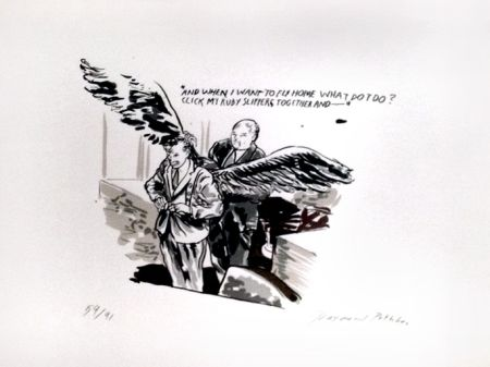 Sérigraphie Pettibon - And When I Want to Fly Home What Do I Do