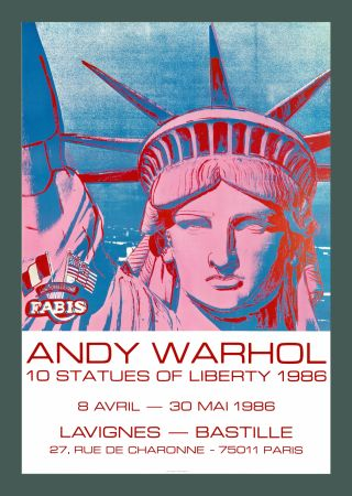 Lithographie Warhol - Andy Warhol '10 Statues Of Liberty' 1986 Original Pop Art Poster with COA
