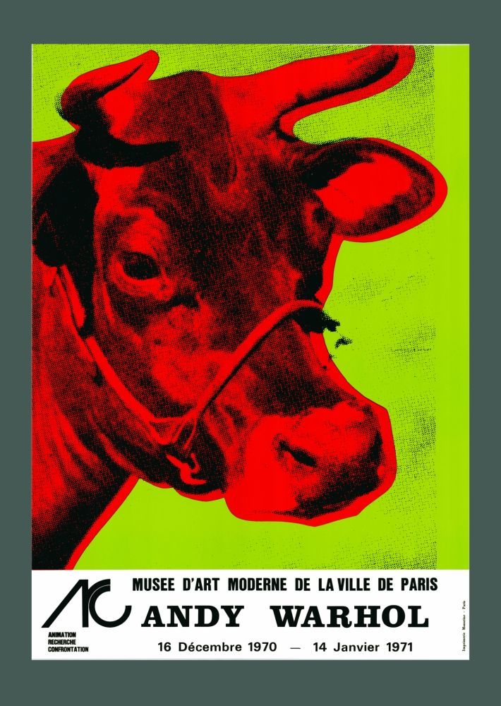 Lithographie Warhol - Andy Warhol 'Cow Wallpaper (Green)' 1970 Hand Signed Original Pop Art Poster