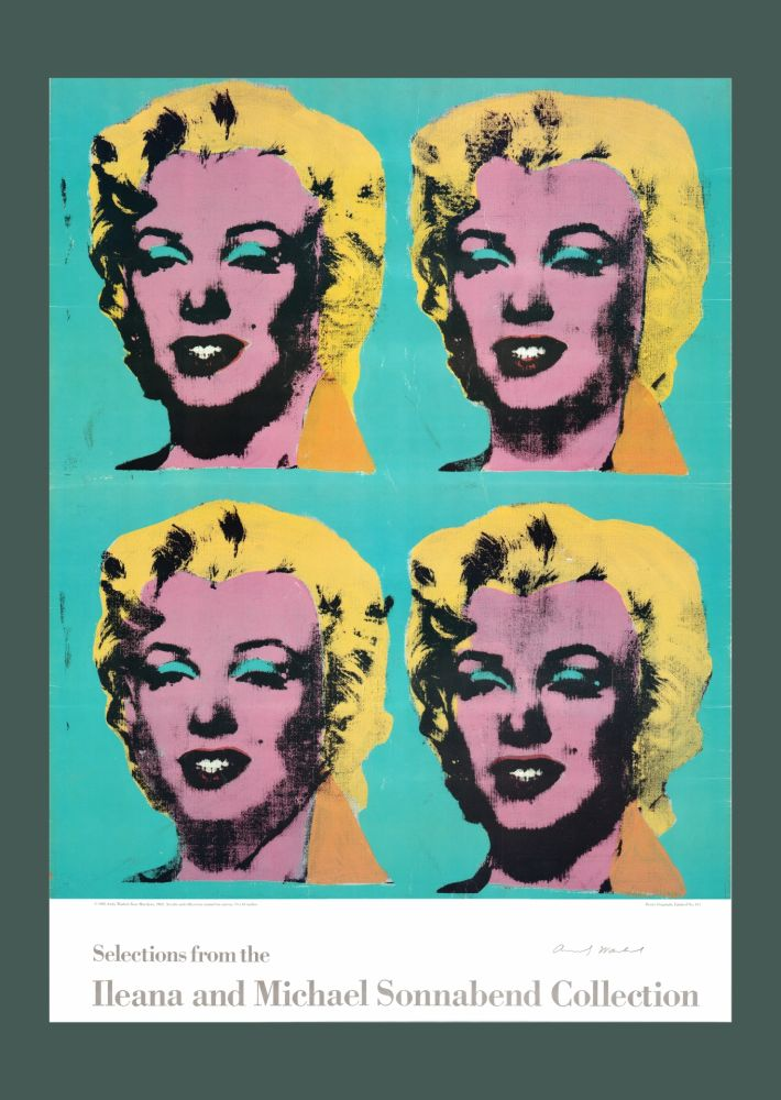 Lithographie Warhol - Andy Warhol 'Four Marilyns' 1985 Hand Signed Original Pop Art Poster with COA