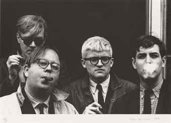 Photographie Hopper - Andy Warhol, Henry Geldzahler, David Hockney and Jeff Goodman