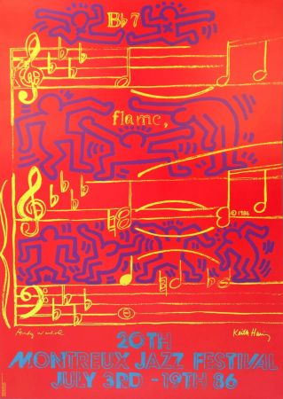 Lithographie Warhol - Andy Warhol & Keith Haring '20th Montreux Jazz Festival' 1986 Plate Signed Original Pop Art Poster