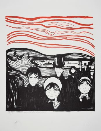 Lithographie Munch - ANGST / ANXIETE 1896