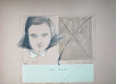 Linogravure Bru - Anne Frank