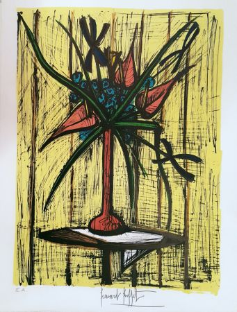 Lithographie Buffet - Anthuriums et Iris