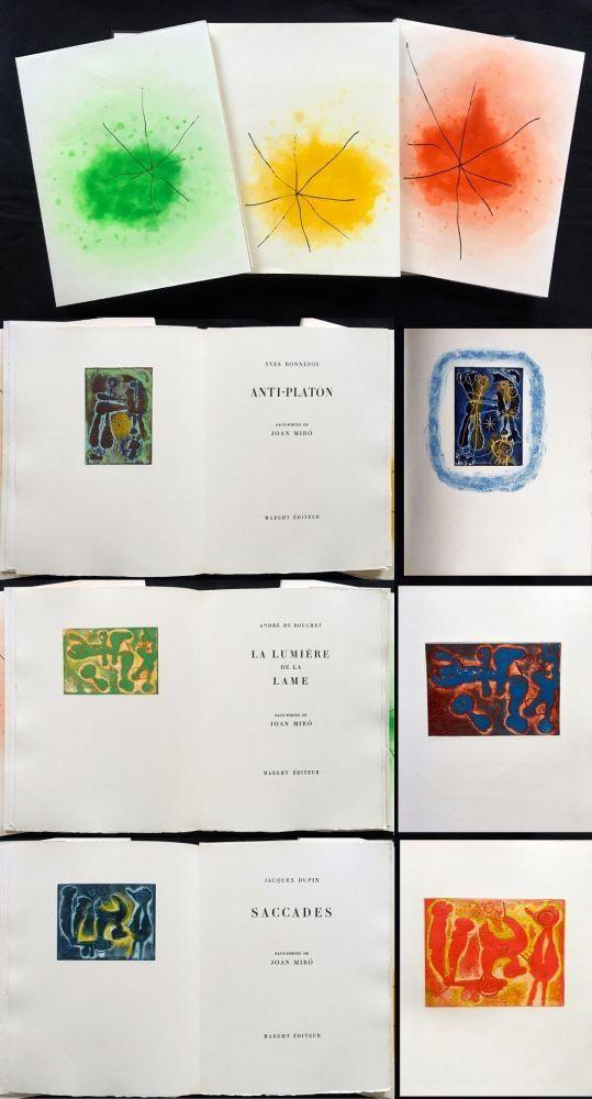 Livre Illustré Miró - ANTI-PLATON - LA LUMIÈRE DE LA LAME - SACCADES. 3 volumes. 24 EAUX-FORTES (1962).