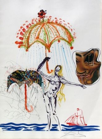 Lithographie Dali - Anti-Umbrella with Atomized Liquid, from Imaginations and Objects of the Future