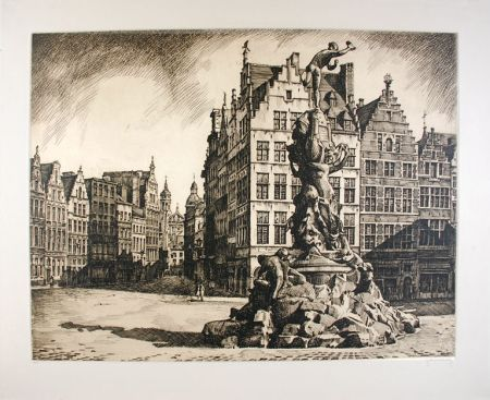Eau-Forte Hebbelinck - Antwerpen - Grote Markt