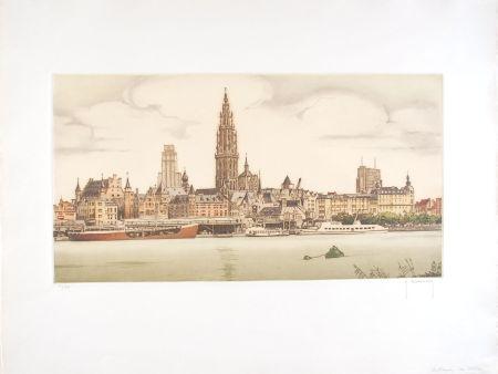 Eau-Forte Hebbelinck - Anvers : De Schelde