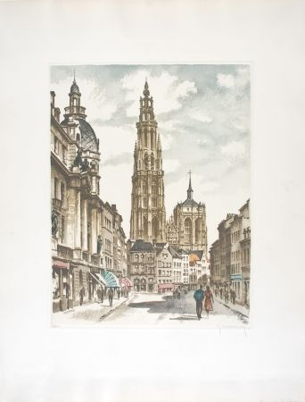 Eau-Forte Hebbelinck - Anvers : Suikerrui