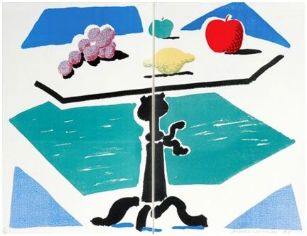 Aucune Technique Hockney - Apples, Grapes, Lemon On A Table