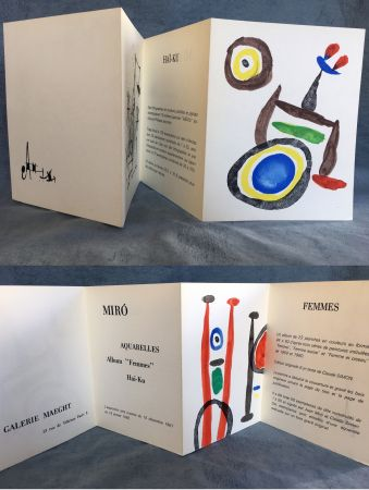 Lithographie Miró - AQUARELLES - FEMMES - HAÏ-KU. Carton d'invitation. 1967.