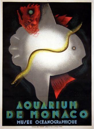 Lithographie Carlu - Aquarium de Monaco