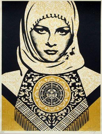 Sérigraphie Fairey - Arab Woman (Gold)