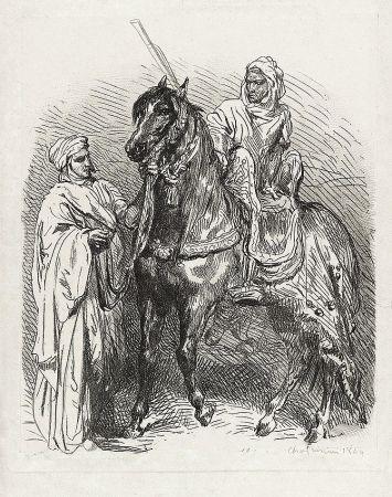 Gravure Chassériau - Arabe montant en selle / Cavalier arabe partant pour la guerre