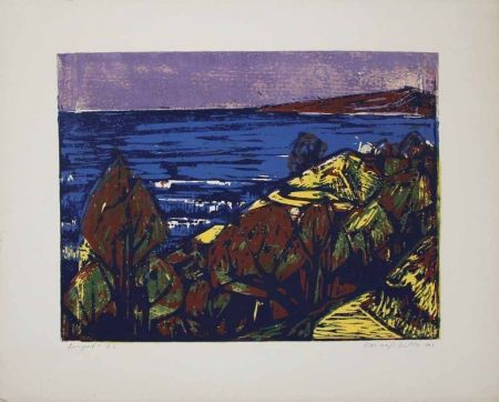 Linogravure Mazsaroff - Aranypart (Golden Shore) (Lake Balaton)