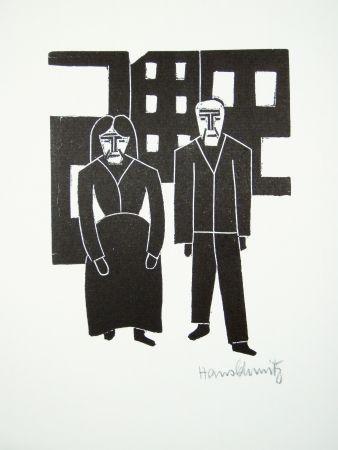 Linogravure Schmitz - Arbeiterpaar (Working Couple)
