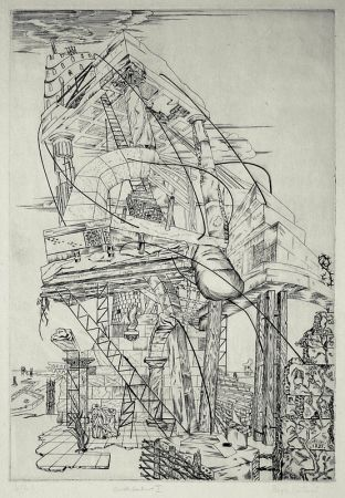Gravure Vieillard - Architecture I (Economic Dirigee; The New Deal; The Tower)