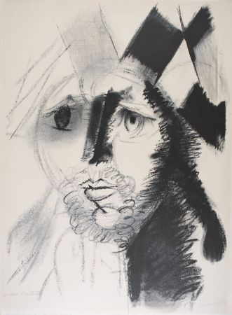Lithographie Somville - Arlequin - NOIR