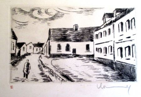 Gravure Vlaminck - Aspect de la Grand rue, Visage des Maisons II