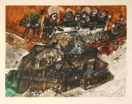 Lithographie Tobiasse - Assemblee des Rabbins et Notables au lgime dans un village de Lithuanie