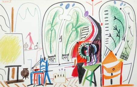 Lithographie Picasso - Atelier