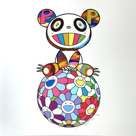 Sérigraphie Murakami - Atop a Ball of Flowers, A Panda Cub Sits Properly