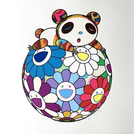 Sérigraphie Murakami - Atop a Ball of Flowers, A Panda Cub Sleeps