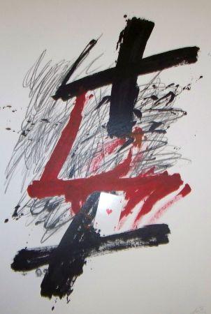 Lithographie Tàpies - Atout coeur