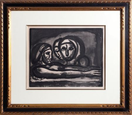 Aquatinte Rouault - Au Presser Le Raisin Fut Foule' (In the Winepress the Grapes were Crushed ) from the Misere Series, Plate 48