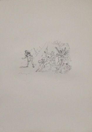 Lithographie Slevogt - Aufstand der Soldaten gegen Klearchos