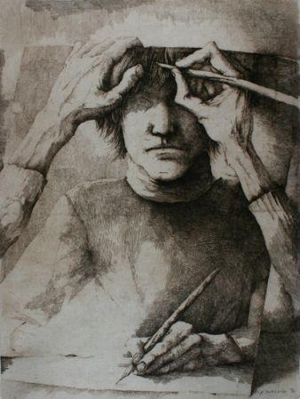 Gravure Desmazières - Autoportrait
