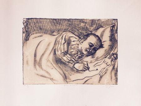Lithographie Topor - Autoportrait