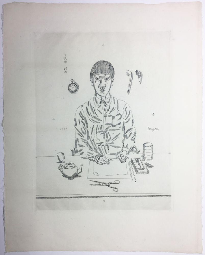 Gravure Foujita - Autoportrait à la table de travail. 11:05 (1923)