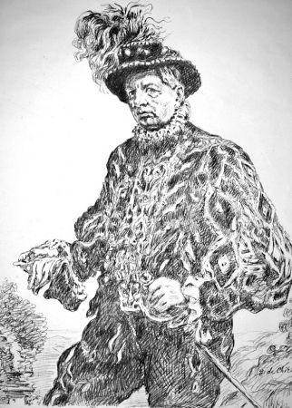 Lithographie De Chirico - Autoritratto in costume