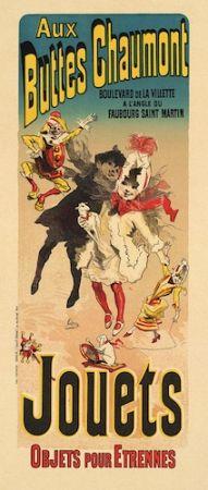 Lithographie Cheret - Aux Buttes Chaumont, Jouets