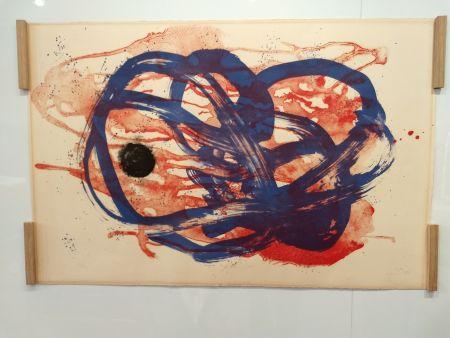 Lithographie Miró - Azul sobre aguada roja