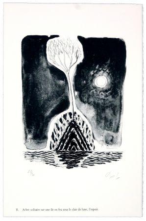 Lithographie Nørgaard - B. Abre solitaire sur une ile sous le clair de lune, l'espoir
