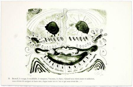 Lithographie Nørgaard - B. Béowulf, le voyage, le modifiable, le transport, l'inconnu, le chaos,