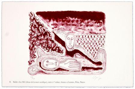 Lithographie Nørgaard - B. Balder chez Hel (déesse de la mort nordique), mère de l'enfant, femme et homme, Piéta, Naxos