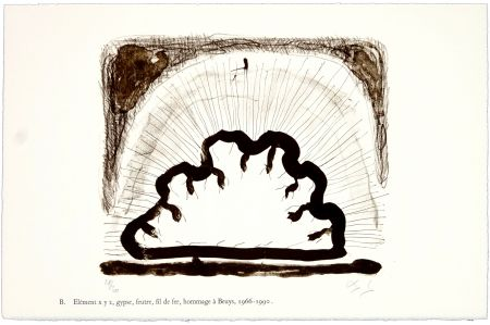 Lithographie Nørgaard - B. Elément x y z, gypse, feutre, fil de fer, hommage à Beuys, 1966 - 1990