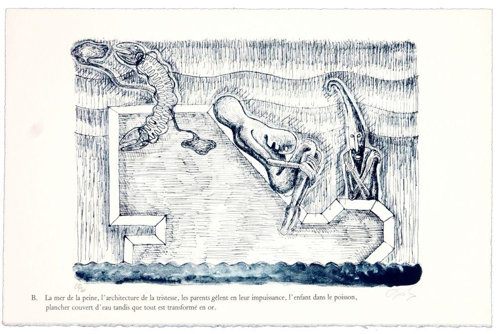 Lithographie Nørgaard - B. La mer de la peine, l'architecture de la tristesse, les parents gêlent en leur impuissance, l'enfant dans le poisson, plancher couvert d'eau tandis que tout est transformé en or